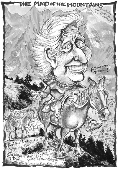 Caricature of Ann Murphy, by Mick Joffe
