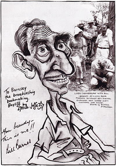 Caricature of Bill Barnes, by Mick Joffe
