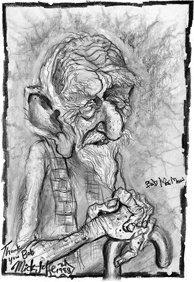 Caricature of Bob McMaw, by Mick Joffe