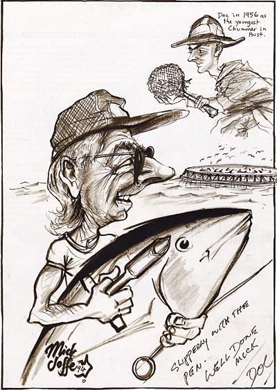 Caricature of Doc Howlett, by Mick Joffe
