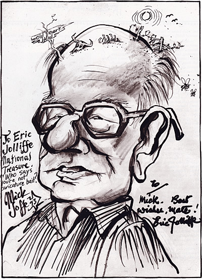 Caricature of Eric Jolliffe, by Mick Joffe