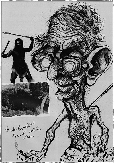 Caricature of Fred Costello, by Mick Joffe