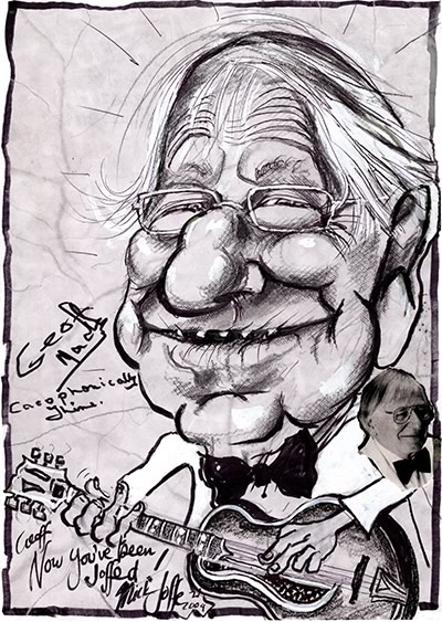 Caricature of Geoff Mack, by Mick Joffe