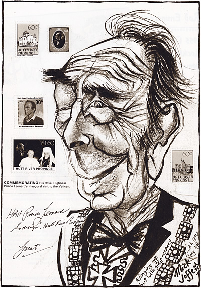 Caricature of H.R.H. Prince Leonard, by Mick Joffe