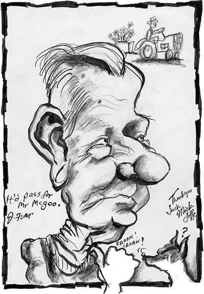 Caricature of Jack McLeod, by Mick Joffe