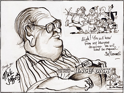 Caricature of Jim Russell, by Mick Joffe