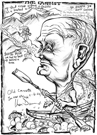 Caricature of Ken Downes, by Mick Joffe