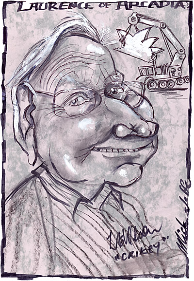 Caricature of Laurie Wilson, by Mick Joffe