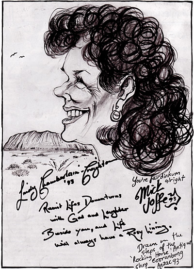 Caricature of Lindy Chamberlain, by Mick Joffe