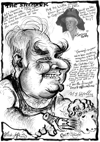 Caricature of Milton Golby, by Mick Joffe