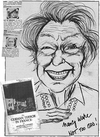 Caricature of Nancy Wake, by Mick Joffe