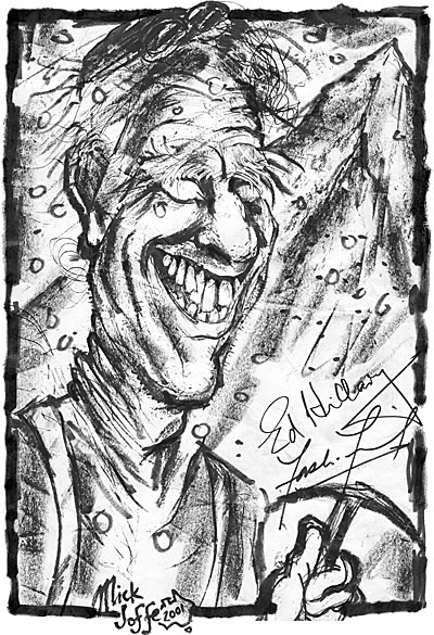 Caricature of Sir Edmund Hillary, by Mick Joffe
