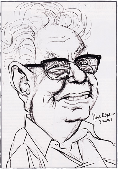 Caricature of Sir Mark Oliphant, by Mick Joffe