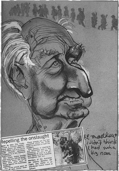 Caricature of Ted Matthews, by Mick Joffe