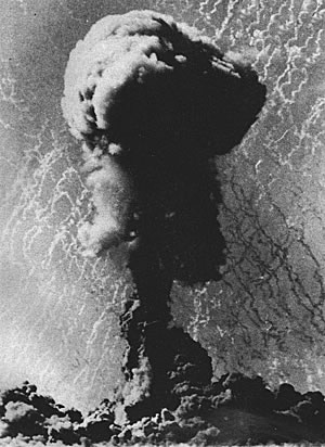 Photo of a nuclear explosion mushroom cloud
