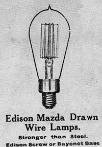 Edison Mazda Drawn Wire Lamps.